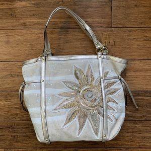 White Cream Sequin Starburst Canvas Shoulder Bag